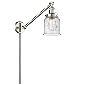 Small Bell Brushed Satin Nickel 25-Inch One-Light Swing Arm Wall Sconce with Seedy Bell Glass