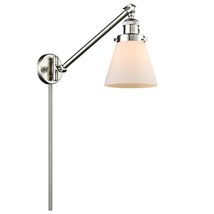 Small Cone Brushed Satin Nickel 25-Inch LED Swing Arm Wall Sconce with Matte White Cased Cone Glass