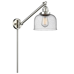 Large Bell Brushed Satin Nickel 25-Inch One-Light Swing Arm Wall Sconce with Seedy Dome Glass