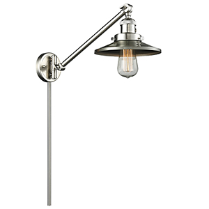 Railroad Brushed Satin Nickel 25-Inch LED Swing Arm Wall Sconce