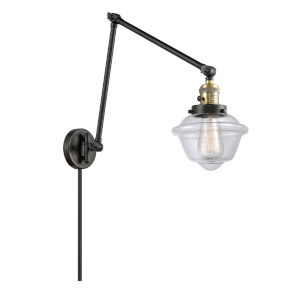 Franklin Restoration Black Antique Brass Eight-Inch One-Light Swing Arm Wall Sconce with Clear Small Oxford Shade and Molded