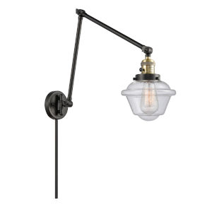 Franklin Restoration Black Antique Brass Eight-Inch One-Light Swing Arm Wall Sconce with Seedy Small Oxford Shade and Molded