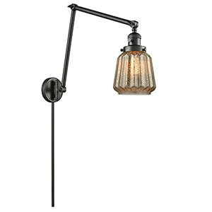Chatham Oiled Rubbed Bronze 30-Inch One-Light Swing Arm Wall Sconce with Mercury Fluted Novelty Glass