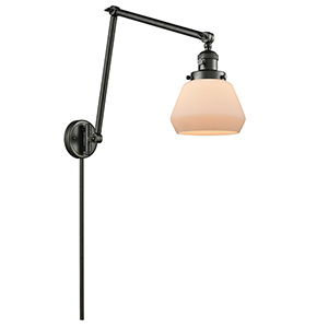 Fulton Oiled Rubbed Bronze 30-Inch One-Light Swing Arm Wall Sconce with Matte White Cased Sphere Glass