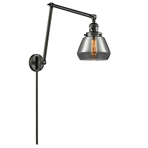 Fulton Oiled Rubbed Bronze 30-Inch LED Swing Arm Wall Sconce with Smoked Sphere Glass