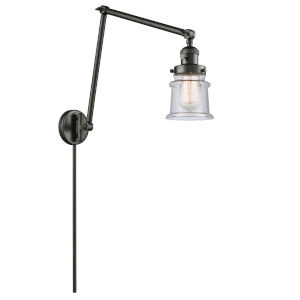 Franklin Restoration Oil Rubbed Bronze 30-Inch One-Light Swing Arm Wall Sconce with Small Seedy Canton Shade and Molded Plug