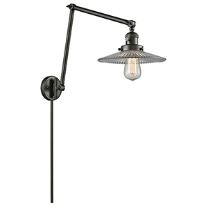Halophane Oiled Rubbed Bronze 30-Inch LED Swing Arm Wall Sconce with Halophane Cone Glass
