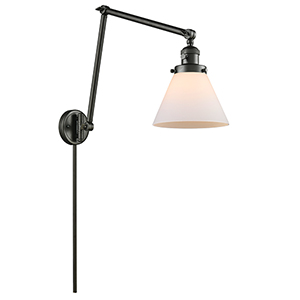 Large Cone Oiled Rubbed Bronze 30-Inch One-Light Swing Arm Wall Sconce with Matte White Cased Cone Glass