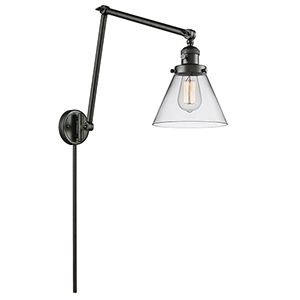 Large Cone Oiled Rubbed Bronze 30-Inch One-Light Swing Arm Wall Sconce with Clear Cone Glass