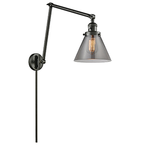 Large Cone Oiled Rubbed Bronze 30-Inch One-Light Swing Arm Wall Sconce with Smoked Cone Glass