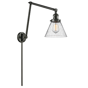 Large Cone Oiled Rubbed Bronze 30-Inch LED Swing Arm Wall Sconce with Seedy Cone Glass