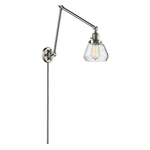 Fulton Brushed Satin Nickel 30-Inch One-Light Swing Arm Wall Sconce with Clear Sphere Glass
