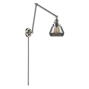 Fulton Brushed Satin Nickel 30-Inch One-Light Swing Arm Wall Sconce with Smoked Sphere Glass