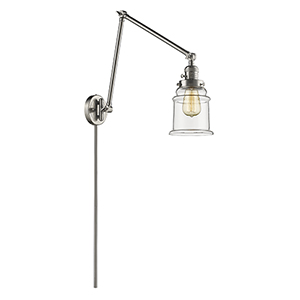 Canton Brushed Satin Nickel 30-Inch One-Light Swing Arm Wall Sconce with Clear Bell Glass