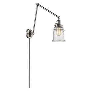 Canton Brushed Satin Nickel 30-Inch One-Light Swing Arm Wall Sconce with Seedy Bell Glass