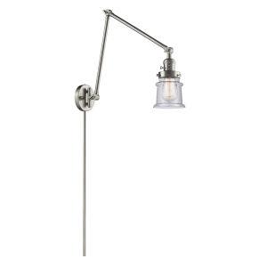 Franklin Restoration Brushed Satin Nickel 30-Inch One-Light Swing Arm Wall Sconce with Small Seedy Canton Shade and Molded