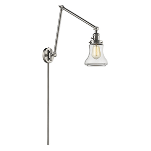 Bellmont Brushed Satin Nickel 30-Inch LED Swing Arm Wall Sconce with Clear Hourglass Glass