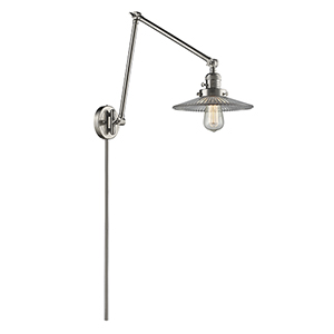 Halophane Brushed Satin Nickel 30-Inch One-Light Swing Arm Wall Sconce with Halophane Cone Glass