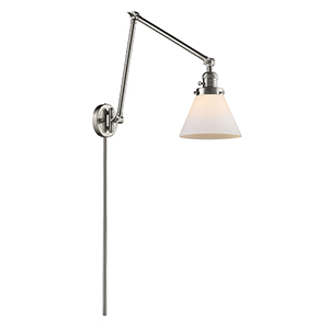 Large Cone Brushed Satin Nickel 30-Inch One-Light Swing Arm Wall Sconce with Matte White Cased Cone Glass