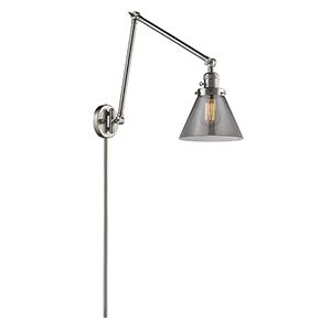 Large Cone Brushed Satin Nickel 30-Inch One-Light Swing Arm Wall Sconce with Smoked Cone Glass