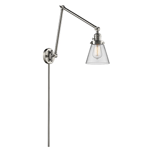 Small Cone Brushed Satin Nickel 30-Inch One-Light Swing Arm Wall Sconce with Clear Cone Glass