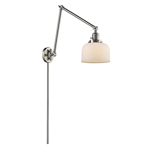 Large Bell Brushed Satin Nickel 30-Inch One-Light Swing Arm Wall Sconce with Matte White Cased Dome Glass
