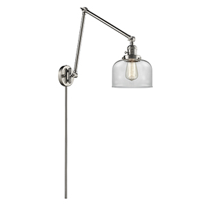 Large Bell Brushed Satin Nickel 30-Inch One-Light Swing Arm Wall Sconce with Clear Dome Glass