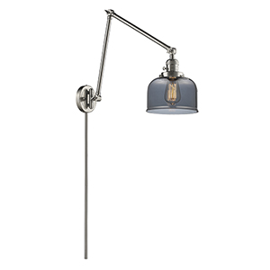 Large Bell Brushed Satin Nickel 30-Inch LED Swing Arm Wall Sconce with Smoked Dome Glass