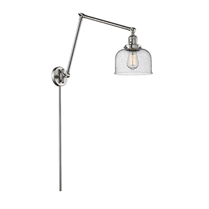 Large Bell Brushed Satin Nickel 30-Inch One-Light Swing Arm Wall Sconce with Seedy Dome Glass