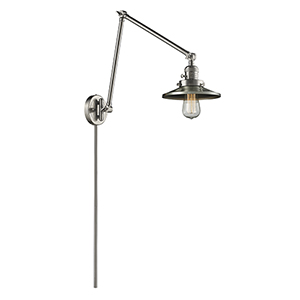 Railroad Brushed Satin Nickel 30-Inch One-Light Swing Arm Wall Sconce