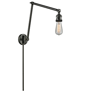 Bare Bulb Oiled Rubbed Bronze 30-Inch One-Light Swing Arm Wall Sconce