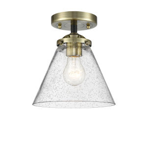 Nouveau Black Antique Brass Eight-Inch One-Light Semi-Flush Mount with Seedy Large Cone Shade