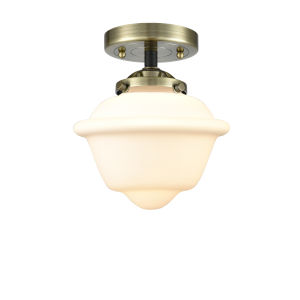 Nouveau Black Antique Brass Eight-Inch One-Light Semi-Flush Mount with Matte White Cased Small Oxford Shade