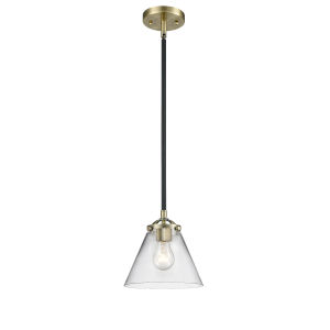 Nouveau Black Antique Brass Eight-Inch One-Light Mini Pendant with Clear Large Cone Shade