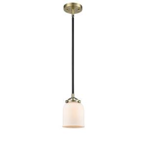 Nouveau Black Antique Brass Five-Inch LED Mini Pendant with Matte White Glass Shade