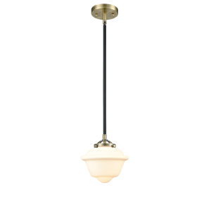 Nouveau Black Antique Brass Eight-Inch LED Mini Pendant with Matte White Cased Small Oxford Shade