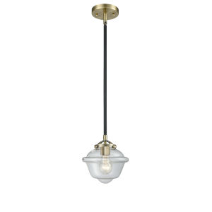 Nouveau Black Antique Brass Eight-Inch LED Mini Pendant with Clear Small Oxford Shade