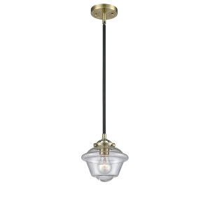 Nouveau Black Antique Brass Eight-Inch LED Mini Pendant with Seedy Small Oxford Shade