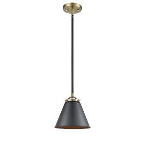 Nouveau Black Antique Brass Eight-Inch One-Light Mini Pendant with Matte Black Metal Shade