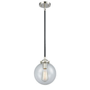 Large Beacon Black Polished Nickel One-Light Mini Pendant with Clear Glass