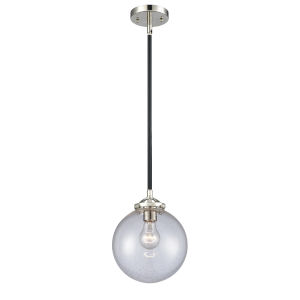 Large Beacon Black Polished Nickel One-Light Mini Pendant with Seedy Glass