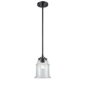 Nouveau Oil Rubbed Bronze Six-Inch LED Mini Pendant with Clear Canton Shade