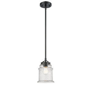 Nouveau Oil Rubbed Bronze Six-Inch LED Mini Pendant with Seedy Glass Shade