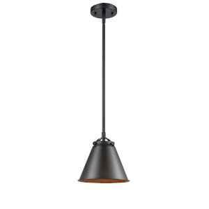 Nouveau Oil Rubbed Bronze Eight-Inch LED Mini Pendant with Oil Rubbed Bronze Metal Shade