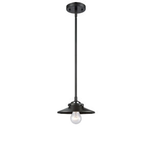 Nouveau Oil Rubbed Bronze Four-Inch LED Mini Pendant with Oil Rubbed Bronze Metal Shade