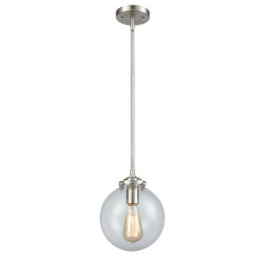 Large Beacon Brushed Satin Nickel LED Mini Pendant with Clear Glass