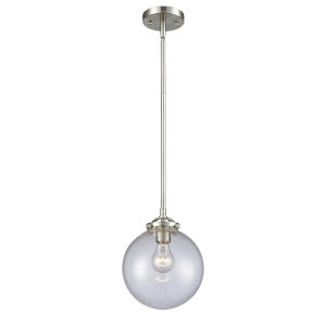 Large Beacon Brushed Satin Nickel LED Mini Pendant with Seedy Glass