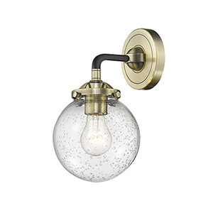 Baldwin Black Antique Brass One-Light Wall Sconce with Seedy Globe Glass