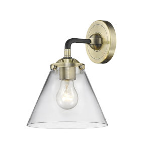 Nouveau Black Antique Brass Eight-Inch One-Light Wall Sconce with Clear Large Cone Shade