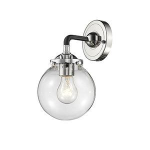 Baldwin Black Polished Nickel One-Light Wall Sconce with Clear Globe Glass